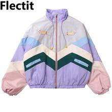 цены Flectit Women Pastel Bomber Jacket Cute Embroidery Color Block Duster Souvenir Sukajan Jacket Japanese Girls Harajuku Style *