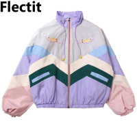 Flectit Women Pastel Bomber Jacket Cute Embroidery Color Block Duster Souvenir Sukajan Jacket Japanese Girls Harajuku Style *