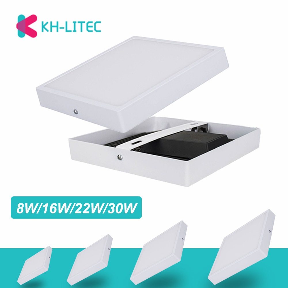 KHLITEC LED Panel Light Round/Square 8W/16W/22W/30W LED Ceiling Downlight Surface Mounted AC85-265V lamp For Living RoomKHLITEC LED Panel Light Round/Square 8W/16W/22W/30W LED Ceiling Downlight Surface Mounted AC85-265V lamp For Living Room