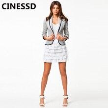 CINESSD Women Blazer Coat Black Lapel Button Office Lady Casual Jacket 2019 Plus Size Pocket Patchwork Cotton Slim