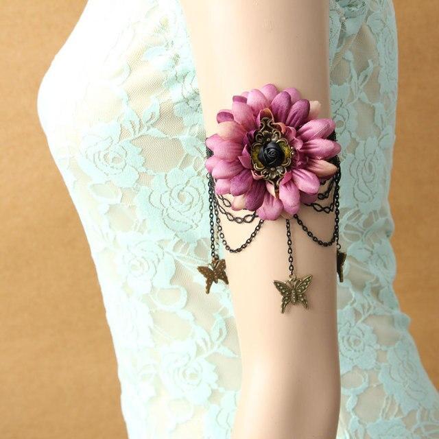 New Women Armlet Black Lace Layered Tassel Butterfly Drop Flower Rose Arm  Band Armband Bracelet Dance Retro Jewelry Boho Summer c1ae3ec5b4fe