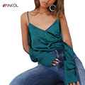 vancol green solid color v neck shirt off shoulder strapless summer tops half sleeve women blouses fashion top 2017 Women