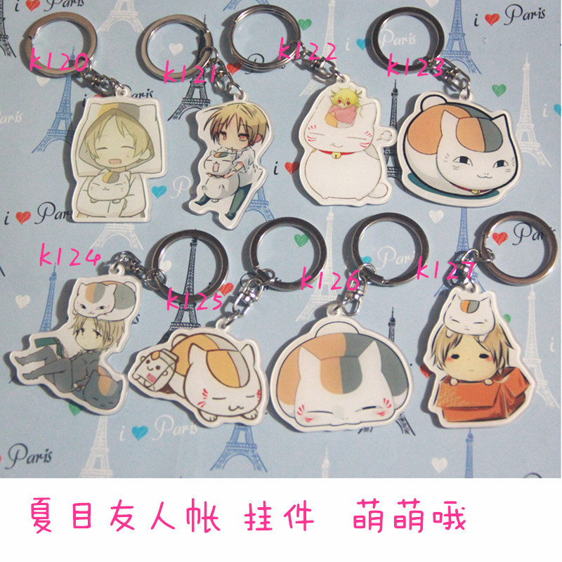 Anime Natsume Yuujinchou Natsume Takashi Madara Cat Cartoon Acrylic Keychain Keyring Charm Pendant Chains Gift Cosplay Prop