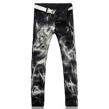 Men's fashion wolf print stretch denim jeans Slim black painted straight pants Long trousers