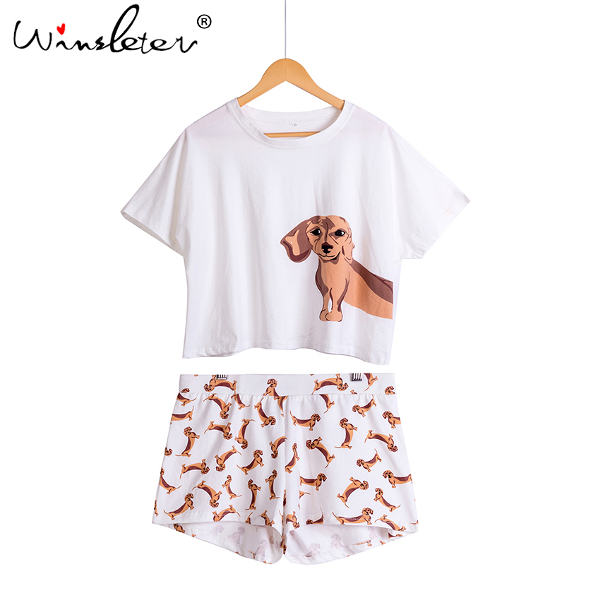 Best Seller Cute Women's Pajama Sets Dachshund Print 2 Pieces Set Dog Crop Top + Shorts Elastic Waist Loose Plus Size S6706 3