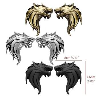 цена на Left / Right Wolf Head Car Decor Zinc Alloy Chrome Metal Emblem DIY Refitting 3D Wolf Emblem Totem Badge Car Styling Exterior