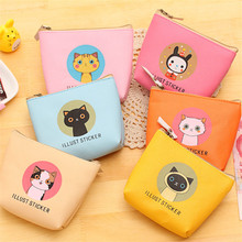 New Women Purses Cute Zipper Small Cartoon Cat Waterproof Girl Headset Line Coin Purse Card Bag Clutch Wallet key bags Wholesale