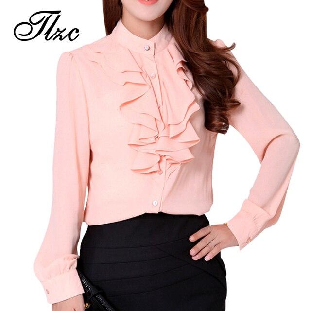 New Korean Lady Pink Chiffon Shirts Size S-2XL Ruffles Design Summer Clothing 2017 Women Career Fashion Soft Blouses