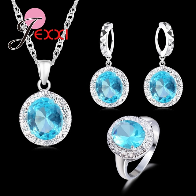 JEXXI Luxury Pendant Necklace Earring Ring Jewelry Sets 925 Sterling Silver Crys