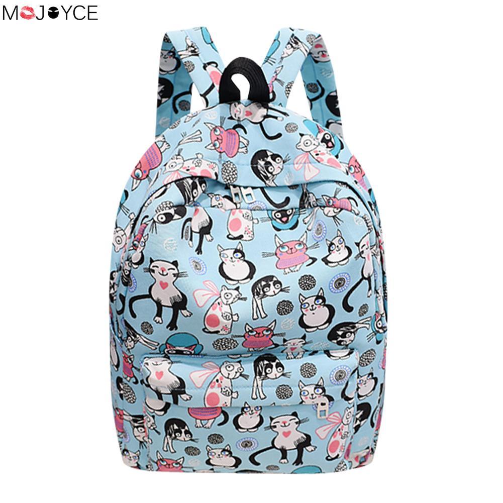 2018 Summer Preppy Chic Women Nylon Backpack Girls Cartoon Cat Printed School Bag Female Casual Travel Rucksack Red Mochilas