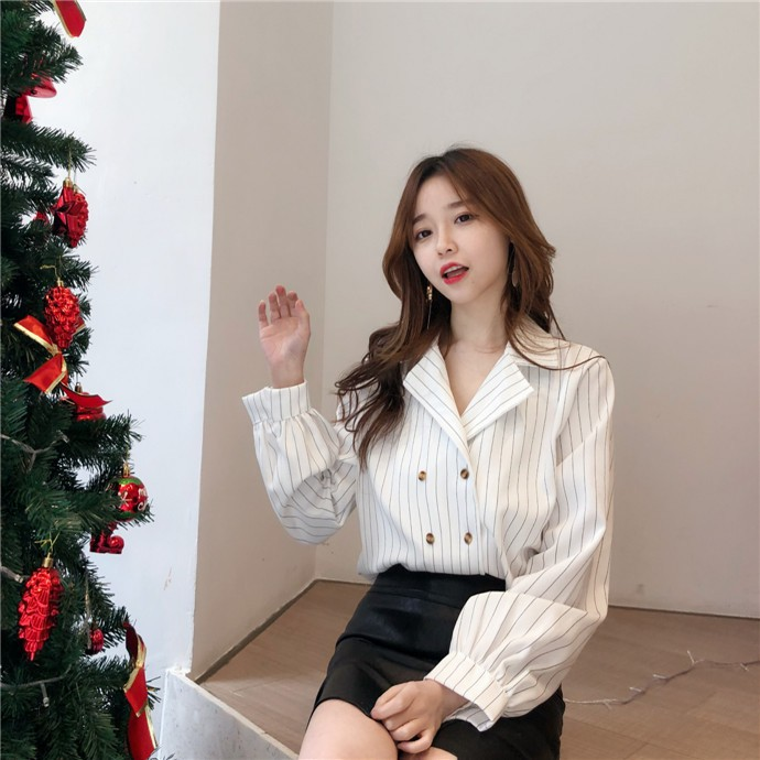 Shirts Women Simple Retro Striped All-match Double-breasted Korean Style Students Notched Womens Elegant Blouses Loose Chic 2019 25