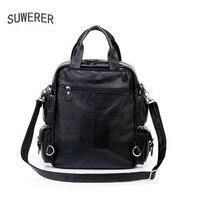 SUWERER Высококачественная модная Роскошная брендовая кожаная мужская сумка на плечо рюкзак для деловых поездок большая сумка