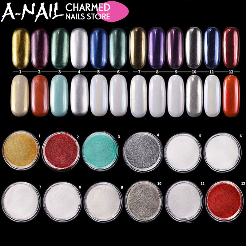12jar/set Mirror Chrome Nail Glitter Pigment Powder Nail Glitter Pigment Powder UV Gel polish nail art Decorations Manicure tool 12pcs set 1mm 2mm 3mm mix round shape nail glitter powder dust 3d diy nail art decorations nail art uv gel manicure tools