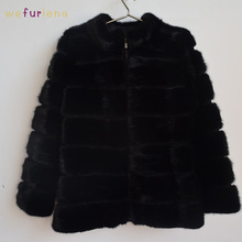 70cm New Genuine Mink Fur Coat Black Jacket Women Long Luxury Natural Mink Fur Coats Winter Warm Full Sleeve Thick Mink Fur