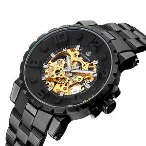 Image 2 - MG. ORKINA Men Wristwatch Golden Skeleton Clock Mechanical Male Wrist Watch Black Relogio Masculino Automatic Zegarek Meski