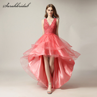Sweety Homecoming Dresses V neck Hi Lo Sexy Back Button Coral Organza Lace Backless Sleeveless Formal Party Prom Gowns LSX230