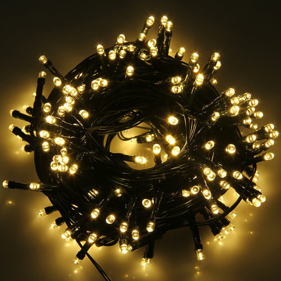BEIAIDI 100M Outdoor LED String Fairy Light 100m 500 LED Black Wire Christmas Wedding Party Holiday Fairy Street Light Garland