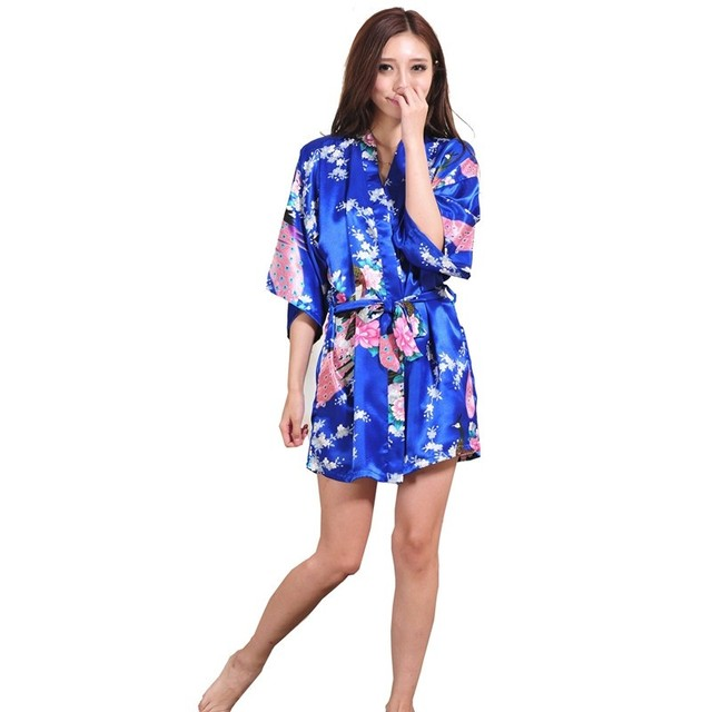 Silk Satin Robe Floral Night Gown For Women 5