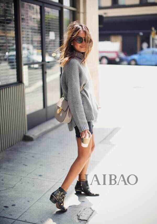 2015 New Girl Punk Rock Style Golden Rivets Shoes Women Black ...