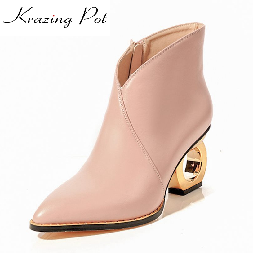 Krazing Pot 2018 genuine leather high heels fretwork metal heels pointed toe zipper beauty sexy party winter Chelsea boots L14 krazing pot genuine leather sheep skin thick high heels square toe zipper boots women superstar party western mid calf boots l17