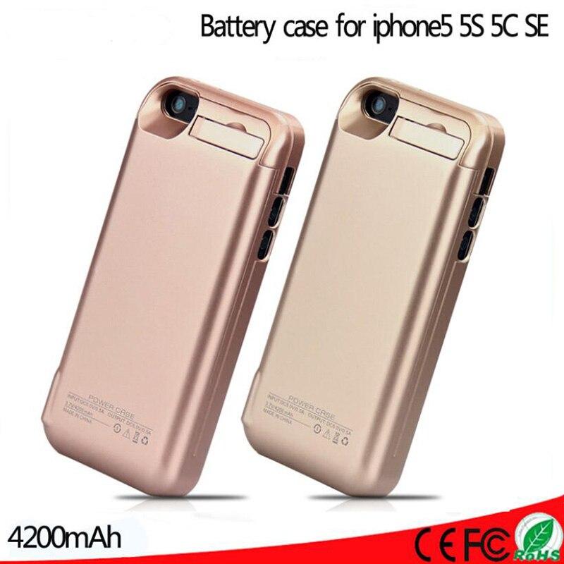 f58659984b7 4200 mah bateria externa de carregamento de backup pacote caso carregador  power bank caso capa para iphone 5 5s 5c se em Sacos & Casos de telefone de  ...