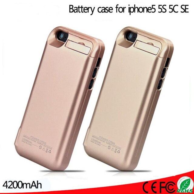 4200 mah bateria externa de carregamento de backup pacote caso carregador power bank caso capa para iphone 5 5s 5c se