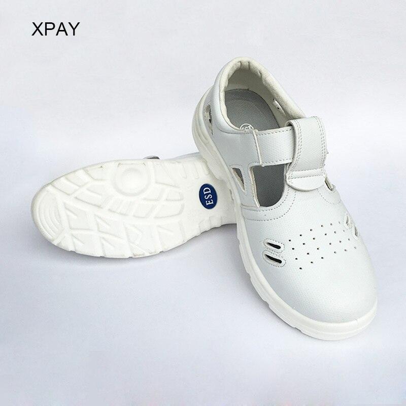 Антистатические и пылезащитные белые защитные ботинки со стальным мысом, воздухопроницаемая обувь