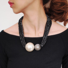 BK Big Simulated Pearl Choker Necklaces For Women Handmade Collar Statement Chunky Big Ball Pendant Necklace Female Jewelry