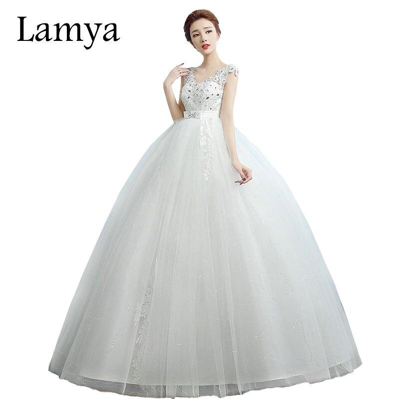 ④LAMYA Pregnant Women Lace V Neck Wedding Dresses Fashion Vestido ...