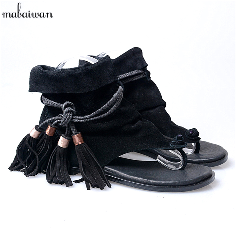 Fashion Women Genuine Leather Gladiator Sandals Flip Flops Rope Fringe Lace Up Flat Shoes Woman Casual Beach Flats Zapatos Mujer sandals women genuine leather lace up ankle wrap 2017 summer shoes woman gladiator sandal flat wedding shoes sandalias mujer