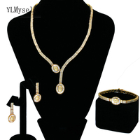 Charming 4pcs Necklace Earrings Bracelet ring jewelry set for party Saudi CZ crystal quick delivery beautiful large jewelry sets
