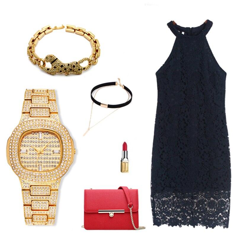 Reloj de pulsera de mujer de acero inoxidable con diamantes, reloj de pulsera para mujer, reloj de pulsera para mujer - 5