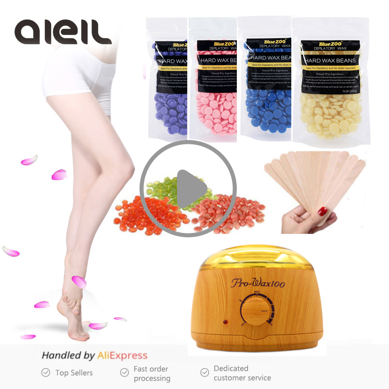 Waxing Warmer Wax Heater Machine 100g Wax Beans Kit Depilation Paraffin Wax Heater Bikini Face Body Hair Epilator Hair Removal natural lavender wax beans depilation cream machine set kit pearl wax hair removal body waxing hair epilation epilator