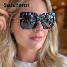 Уникальные Черные Квадратные 3d солнцезащитные очки женские