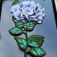Fiore blu big size paillettes patch vintage ricamato applique T-Shirt cappotto patch di cucito accessori per l'abbigliamento decorazione Fai Da Te