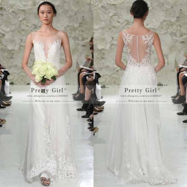 Wedding Gown Fashion Show: 2015 Fashion Show Wedding Dress Sheer Scoop Sleeveless See