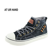 Men Canvas Shoes Fashion High Top Men S Breathable Canvas Lace Up Vulcanize Shoes