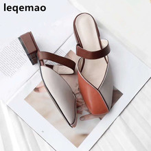 где купить 2019 New Fashion Women Slippers Soft Cow Leather Summer Square Toe Mixed Colors Low Heels Ladies Sandals Female Drees Shoes дешево