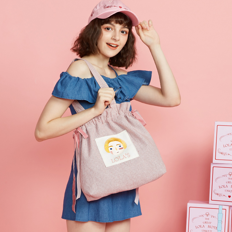 Princess sweet lolita bag Original rope single shoulder bag Korean version canvas stripe bag lovely embroidered women LLD018 купить в Москве 2019