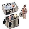 Multifuncional bolso de la momia portátil plegable de viaje cuna bolsa porta alimentos mamadeira bolsa de cochecito de bebé