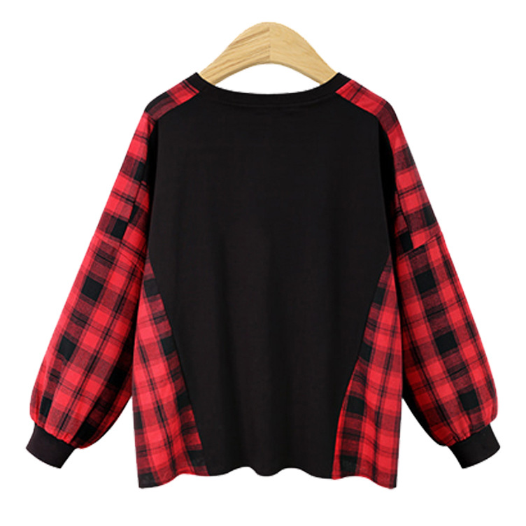 2018 New Hot Automne Hiver Plus La Taille Patchwork Lâche De Mode En Coton À Carreaux T-shirt Femelle Chemise À Manches Longues Femmes Tops - 3