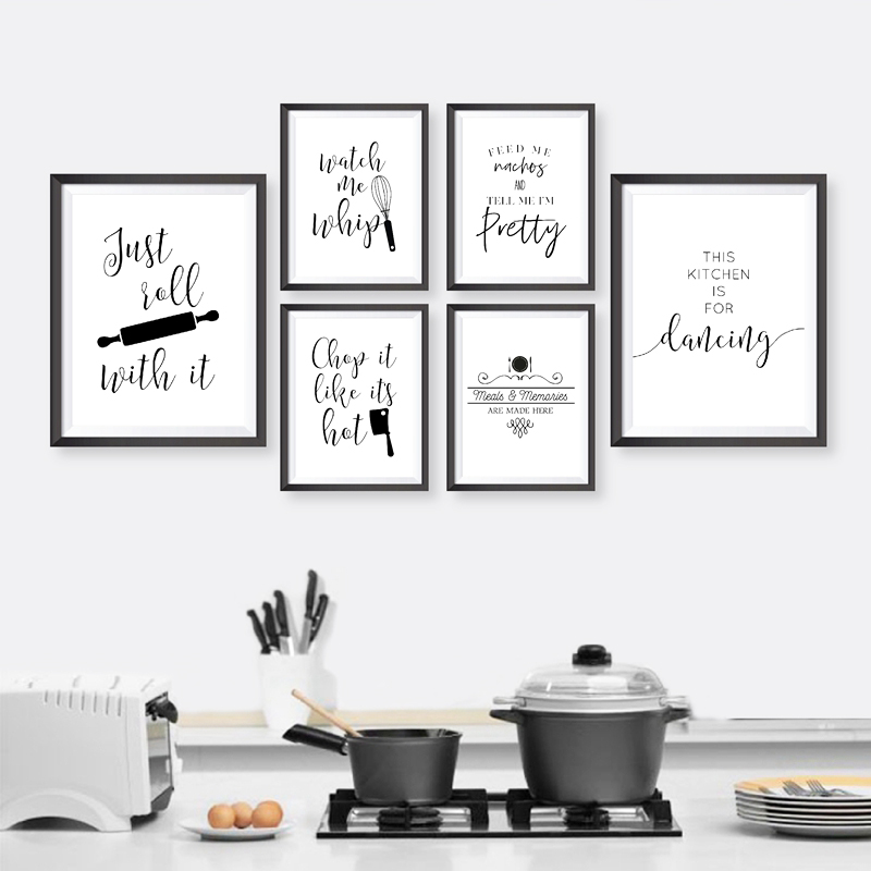 Kitchen Typography Wall Art Canvas Painting Black White Minimalist Quotes Posters And Prints Pictures Decoration Calligraphy Aliexpress
