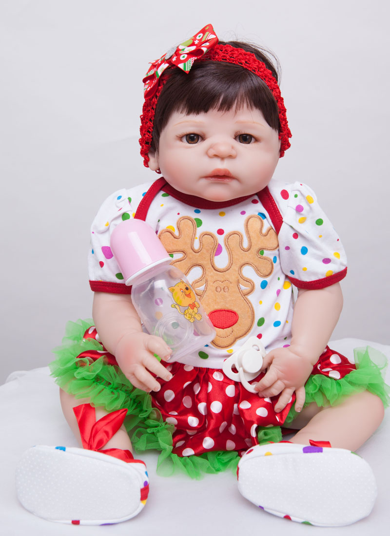55cm Full Silicone Reborn Baby Doll Toys For Kids Newborn Girl Babies Reborn Doll Christmas Present Birthday Gift Girls Brinqued 23 inch girl toys realistic baby doll reborn girls dolls baby full silicone vinyl newborn babies kids birthday christmas gift
