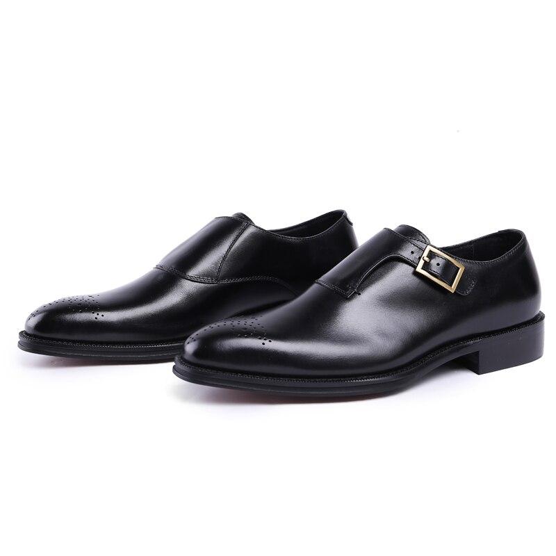 Js33 Monge Genuíno Homem Masculinos Formal Estilo Pé marrom Esculpida Dos Do Homens Casamento Preto Sapatos Calçados Dedo De Vestido Brogue Italiano Cinta Luxo Redondo Couro tPPcqFrwB