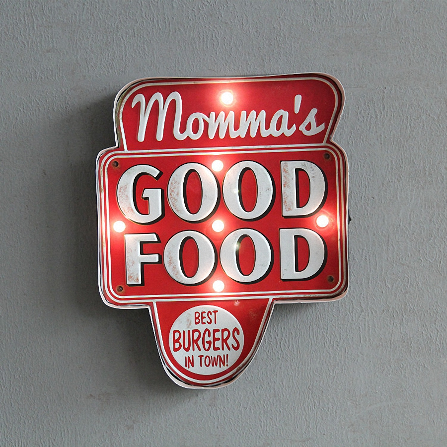 GOOD FOOD Large LED Lights Tin Sign Vintage Iron Painting KTV Bar Hanging Ornaments Decor Retro Mural Poster Metal 41X33X5 CM