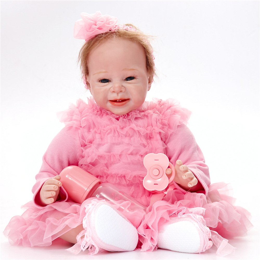 22 inches Reborn Girl Doll Soft Silicone Realistic Newborn Baby with Cloth Body Toy for Kids Birthday Xmas Gift Bebe 22 inches realistic reborn girl doll soft silicone lovely princess newborn baby with cloth body toy for kids birthday xmas gift