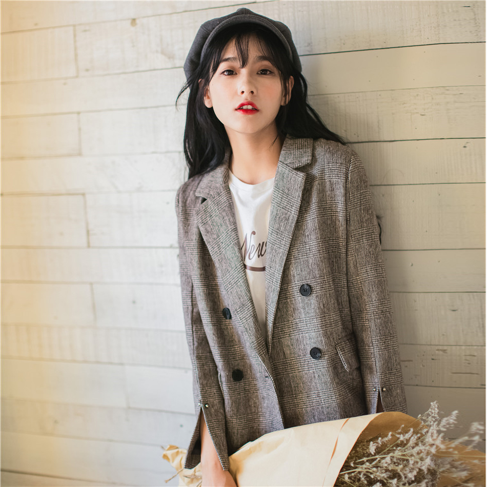 Suit Jacket 2019 Spring And Summer England Slit Sleeves Small Slim Thin Crude Fabric Vintage Bouble Breasted Plaid Women Blazer