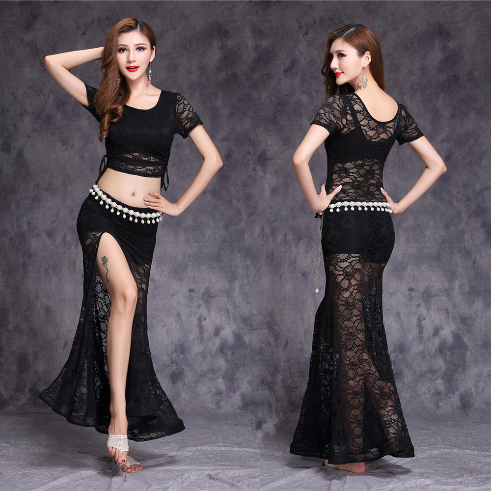 2019 Lace Bellydance Costume 3pcs Top&Skirt&Waist Chain New Model Hot Sale Women Belly Dance Suits  Performance Wear Long Skirt