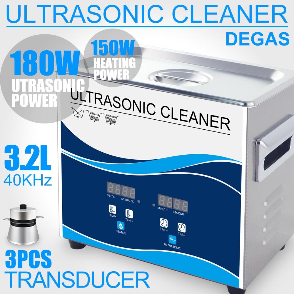 Цифровой ультразвуковой очиститель 3.2L 180 Вт Degas нержавеющей для ванной 40 кГц Таймер Нагреватель регулируемый бытовой ультразвуковой шайба