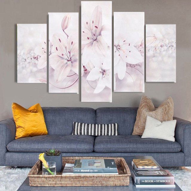 HAOCHU 5Pcs Group Canvas Painting Pretty White Flower HD Digital Print Home  Decor Wall Art Backdrop